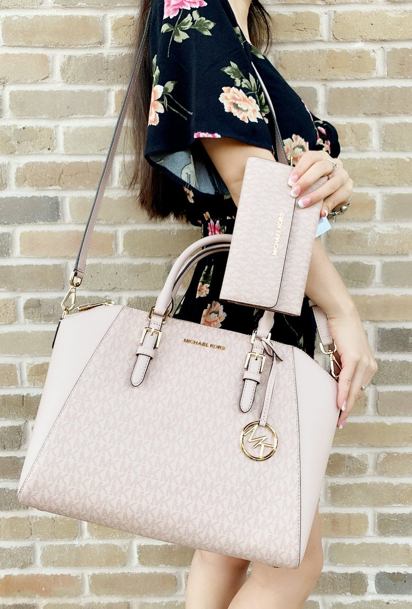289681bcbb97 Michael Kors Ciara Saffiano Large Top Zip Satchel Trifold Wallet SET Pink   GabysBags  rated