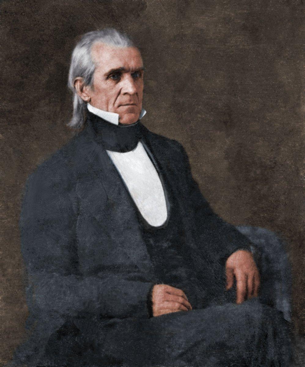 The 11th President James K. Polk (c1849). (Colorization by Carl Rosenbaum) #JamesKPolk #President #PresidentsDay