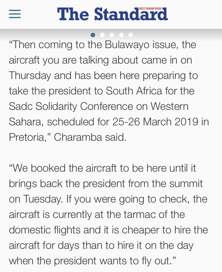 Look at George Charamba tripping over himself trying to justify his boss' hiring of an expensive plane. https://t.co/4QlTS7iTuh