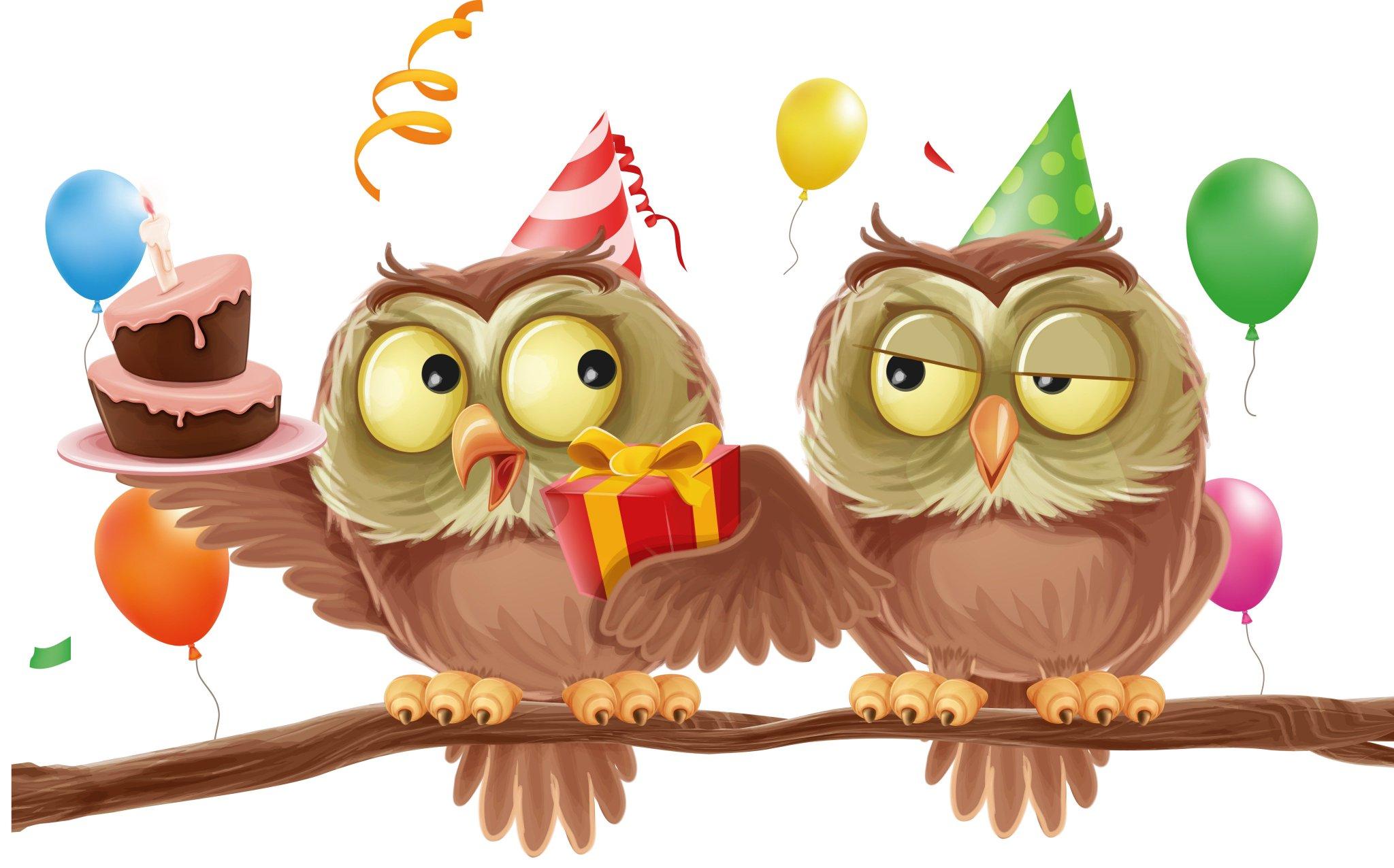 Открытка с днем рождения с совой