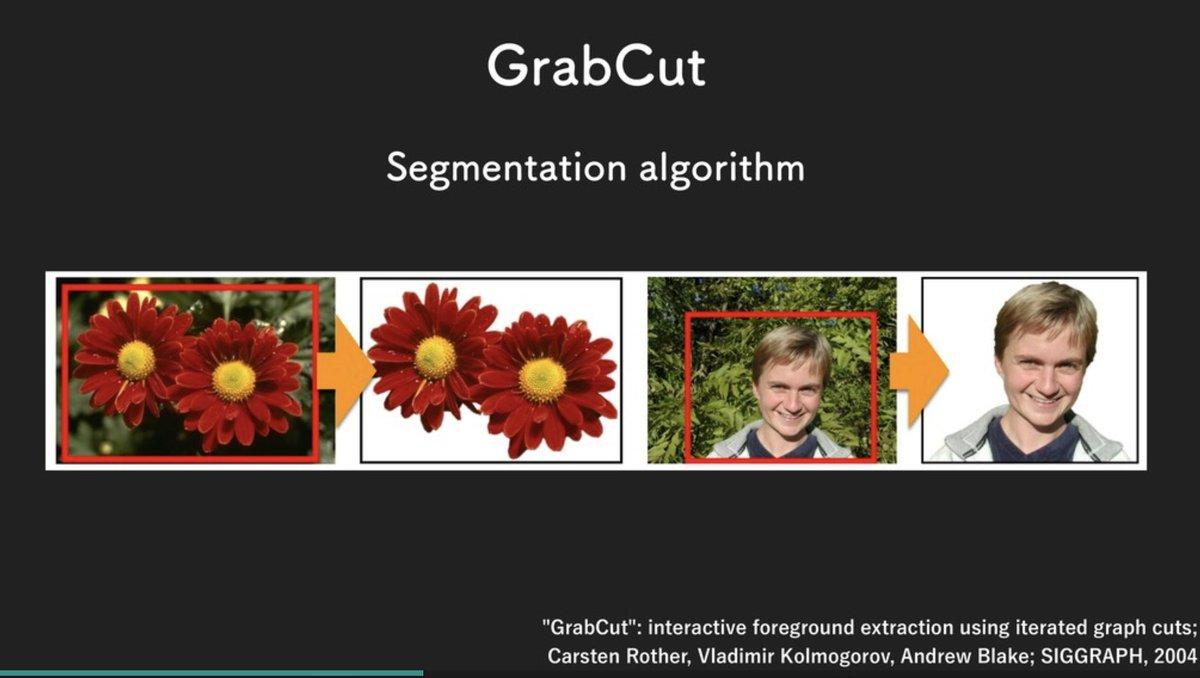深度なし、機械学習ベースでもないセグメンテーションアルゴリズムの「GrabCut」が気になってソースコードを拝見したところ、OpenCVに既にそういう実装がある(cv::grabCut)ようだった。   #tryswiftconf