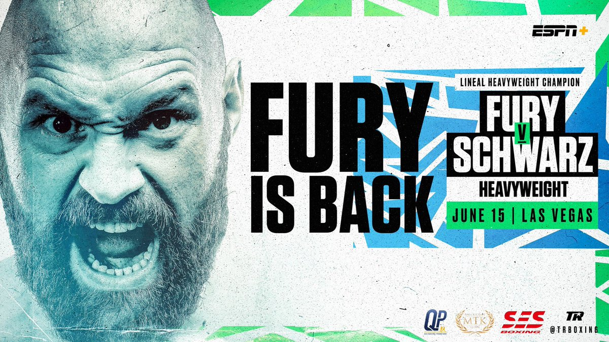 It's official, @Tyson_Fury returns on 15th June against Tom Schwarz in his Las Vegas debut.