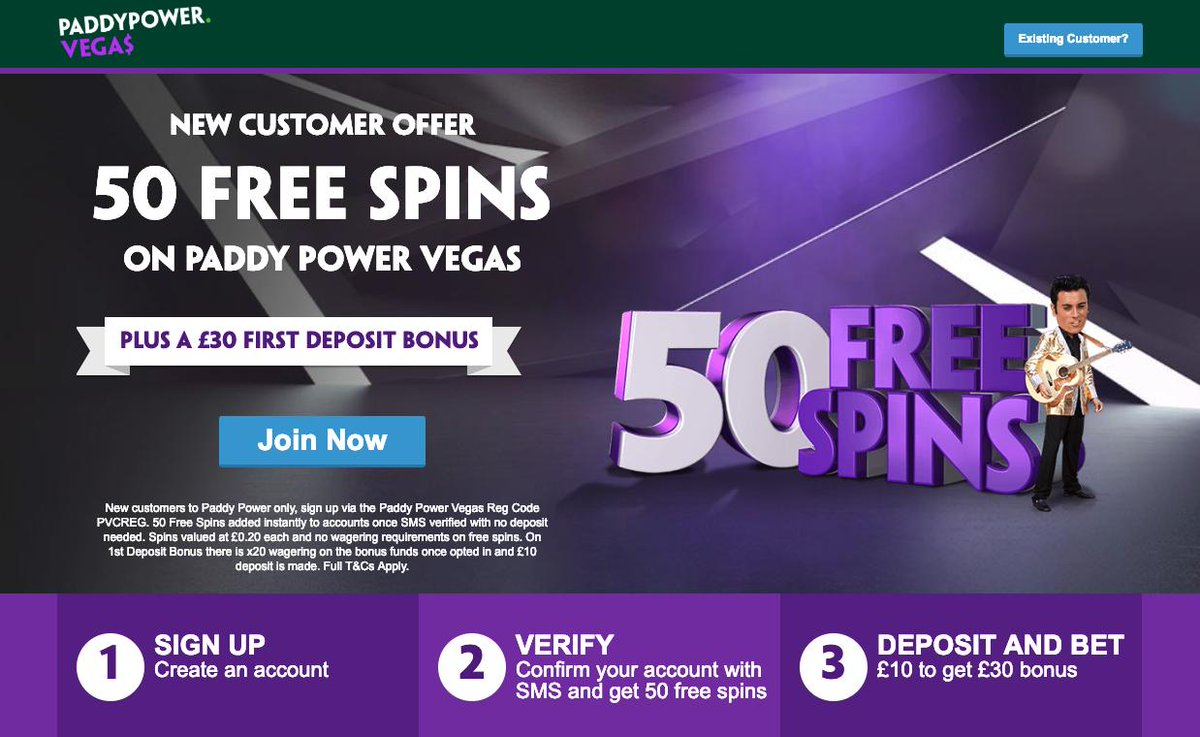 Paddy Power Vegas No Deposit Spins