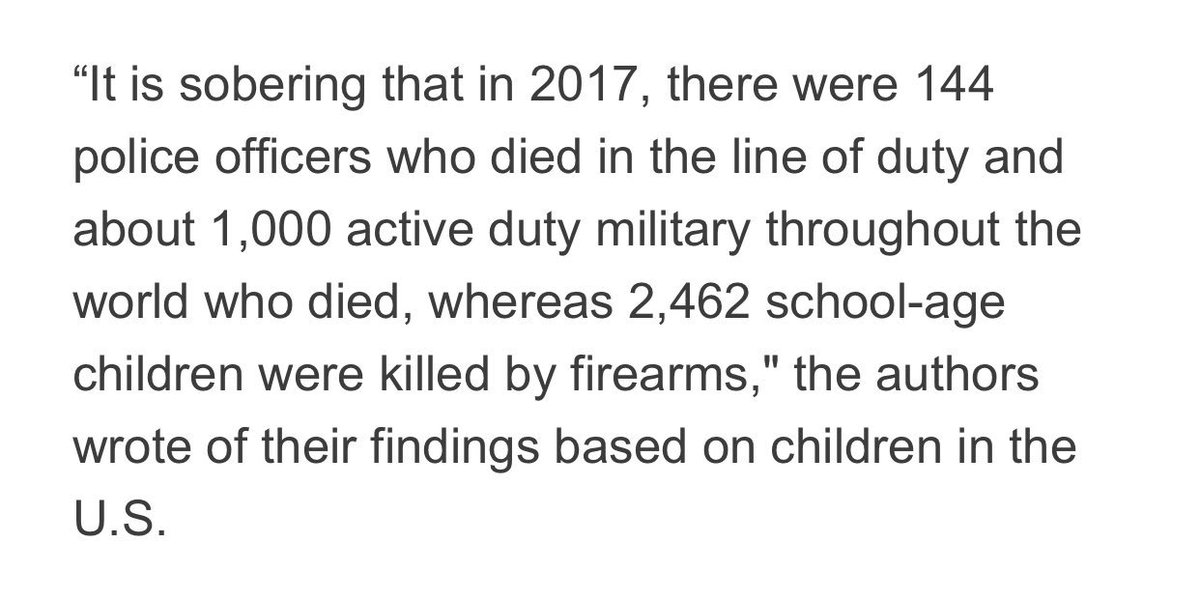 More children were shot dead in the US in 2017 than on-duty police officers and active duty military combined.   A truly shocking statistic.   America's deadliest enemy would appear to be the gun lobby. https://www.newsweek.com/kids-and-guns-alarming-rise-firearm-deaths-among-american-children-1370866…