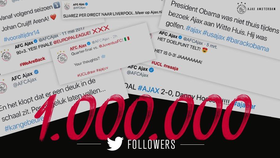 1⃣.0⃣0⃣0⃣.0⃣0⃣0⃣ volgers! 🕊  📲 @AFCAjax ♥️ @Twitter  We gaan terug in de tijd ⤵️  #Ajax1M
