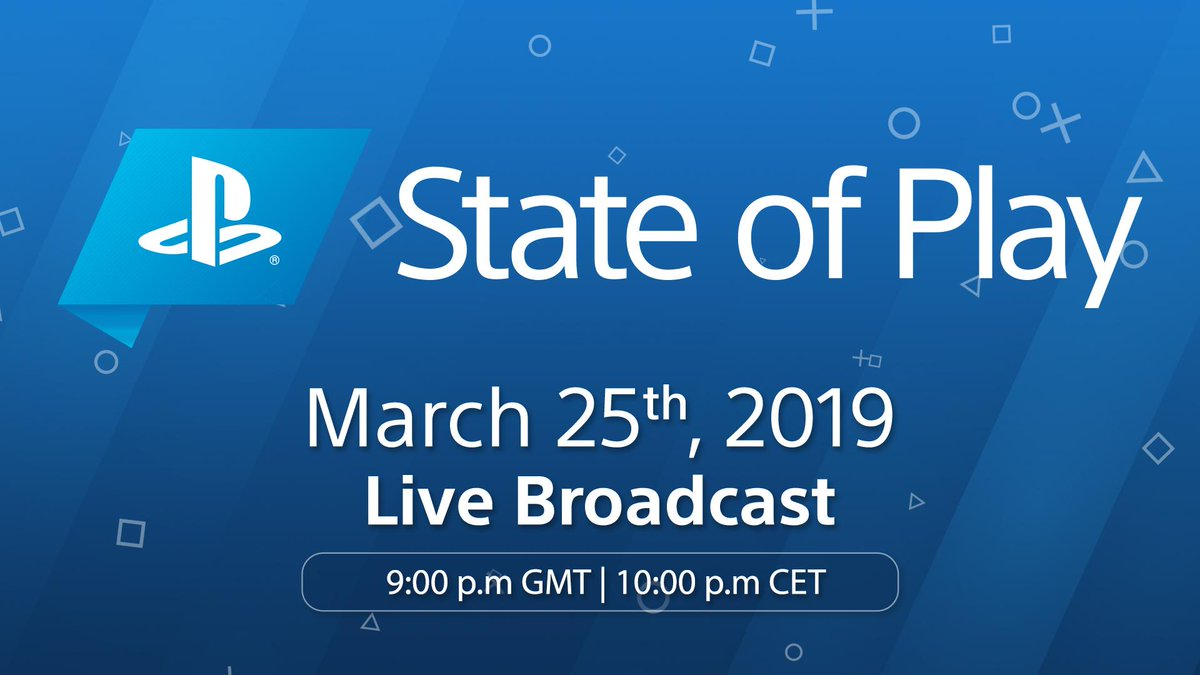 It's almost time for the first episode of State of Play.  Tune in tomorrow at 9pm GMT / 10pm CET for PS4 and PS VR software updates and announcements: https://play.st/2FvoYmK