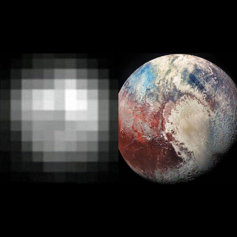 A photo of Pluto, 25 years apart (1994-2019). Pluto might've been downgraded to a dwarf planet but I think he's looking better than ever. Source: https://buff.ly/2HBb2dj #space #NASA #astronomy #science