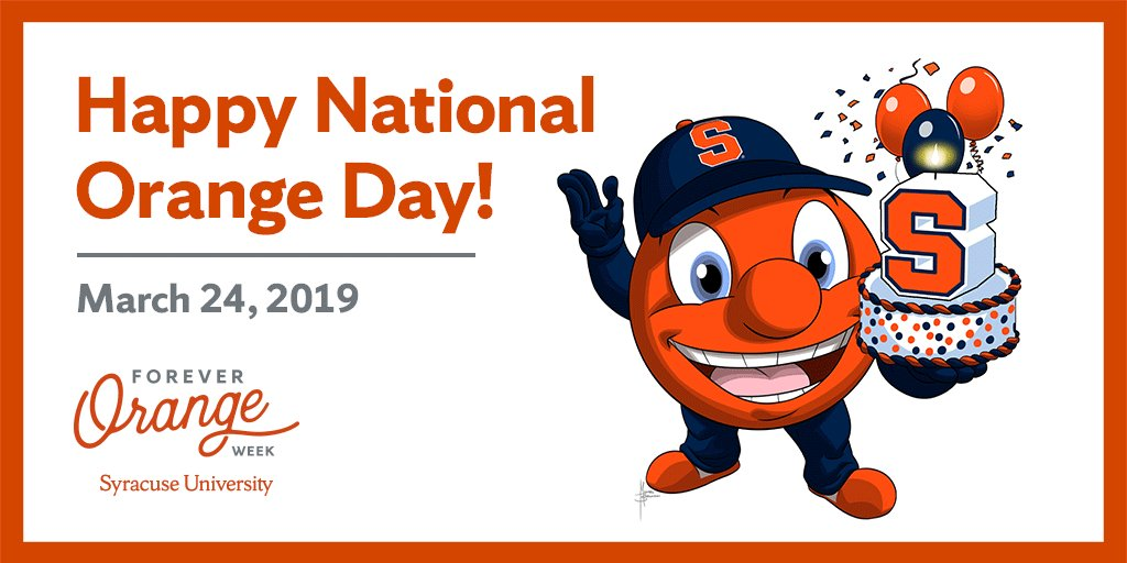Today is #SyracuseU's 149th birthday! Happy National Orange Day to our #OrangeNation family, near and far 🍊🎂 #4EverOrange