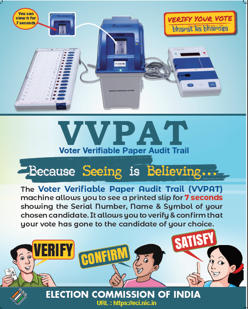 Because seeing is believing❗️  #VVPAT allows you to verify and confirm that your #Vote has gone to the candidate of your choice.  #LokSabhaElections2019 #GeneralElections2019 #NoVoterToBeLeftBehind