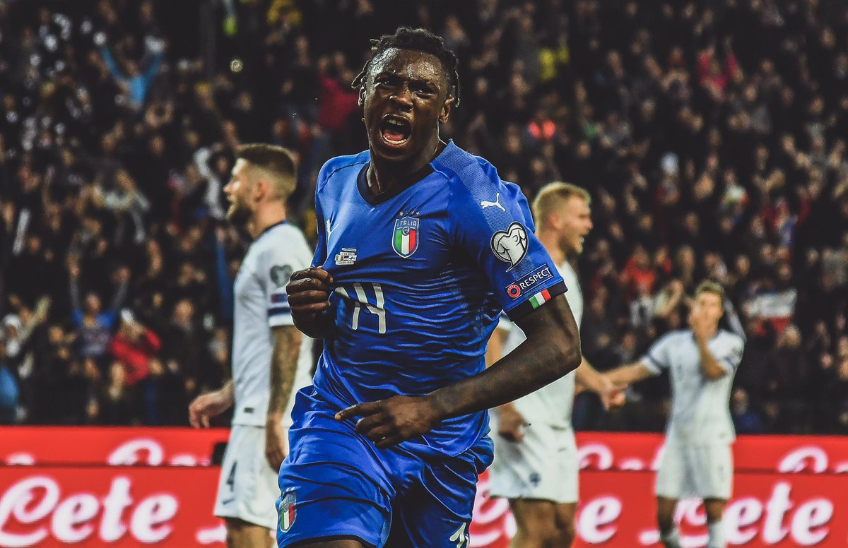 🇮🇹 Moise Kean made his competitive @Azzurri debut last night.  ⚽️ Scored on his debut.  👶 Italy's first goal scorer born this century.  😱 Italy's second youngest goalscorer ever.  📆 Youngest scorer since Bruno Nicolé in 1958.  🤩 The future is now.