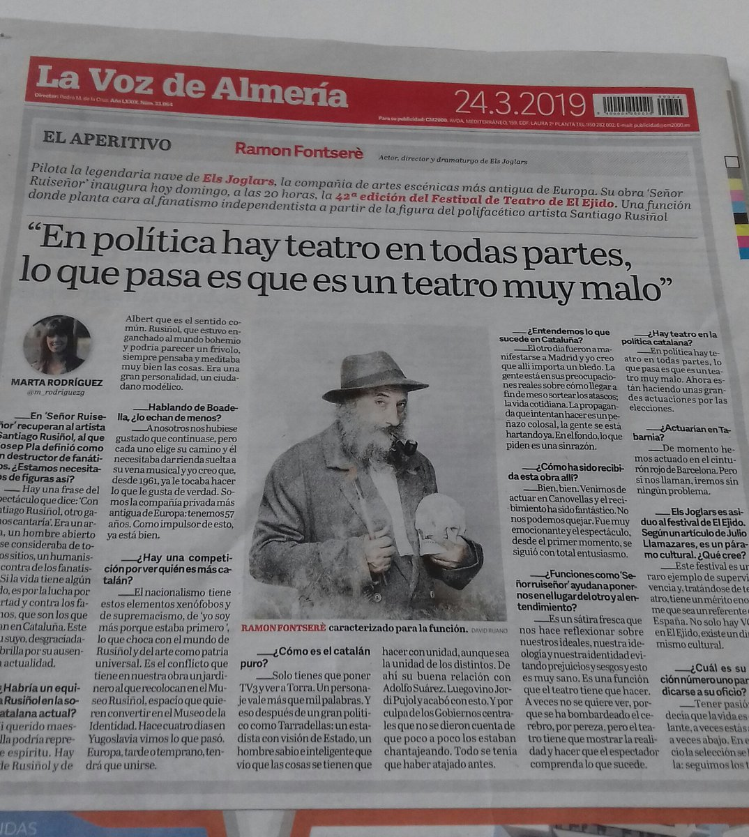 #SeñorRuiseñor esta tarde en #42FestivalTeatroElEjido