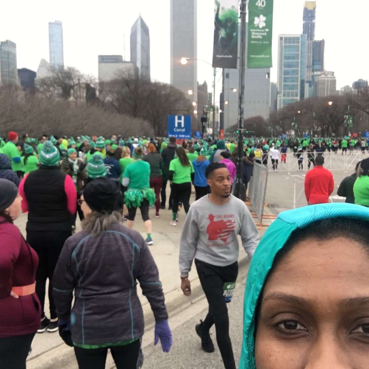 Getting ready to #ShamrockShuffle #Chi #chicago good luck runners #LowLevelAlert