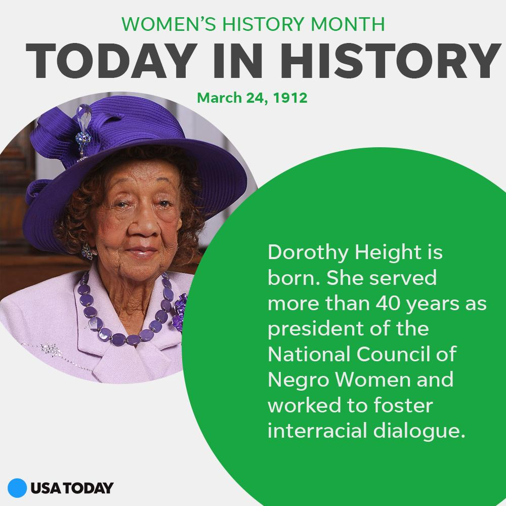 Dorothy Height was a prominent civil rights and women's rights activist. #WomensHistoryMonth https://t.co/jk5cpvBJjz https://t.co/a1s4CHaPnm
