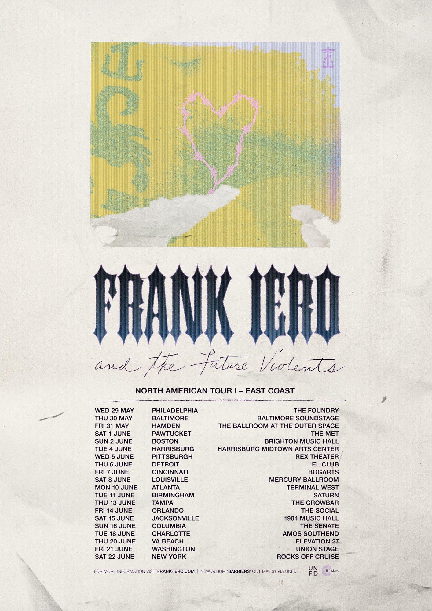 Frank Iero and The Future Violents East Coast Headline Shows on Sale Now! https://t.co/TU4zbusnm2 https://t.co/n3BjK46Tz2