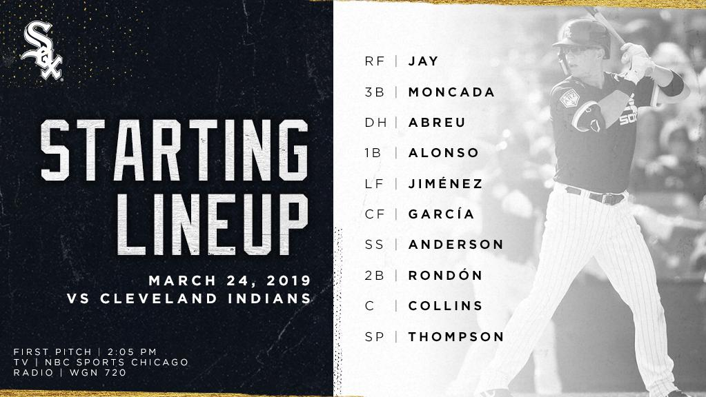 Today&#39;s #SoxSpringTraining starters!  : 2:05 p.m. CT : @NBCSChicago  : @WGNRadio   #CWSHomeOpener:  https:// atmlb.com/2TUNOoZ  &nbsp;  <br>http://pic.twitter.com/3InD9lqLlv