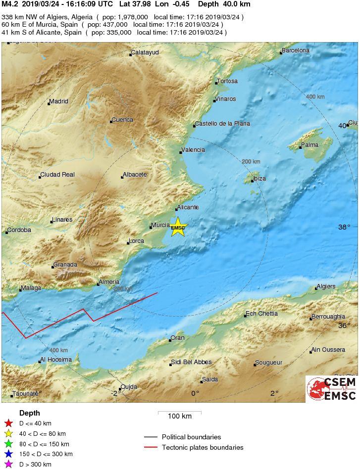Las primeras informaciones determinan que ha sido un #terremoto de magnitud 4.2 con epicentro en el mar frente a la costa de #Torrevieja.