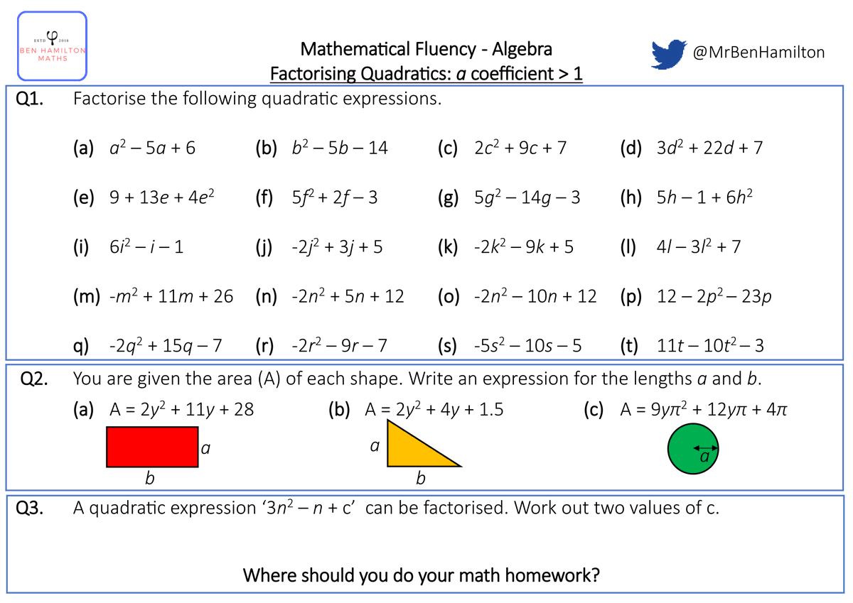 "Ben Hamilton on Twitter: ""Factorising Quadratic Expressions with With Factoring Quadratic Expressions Worksheet"