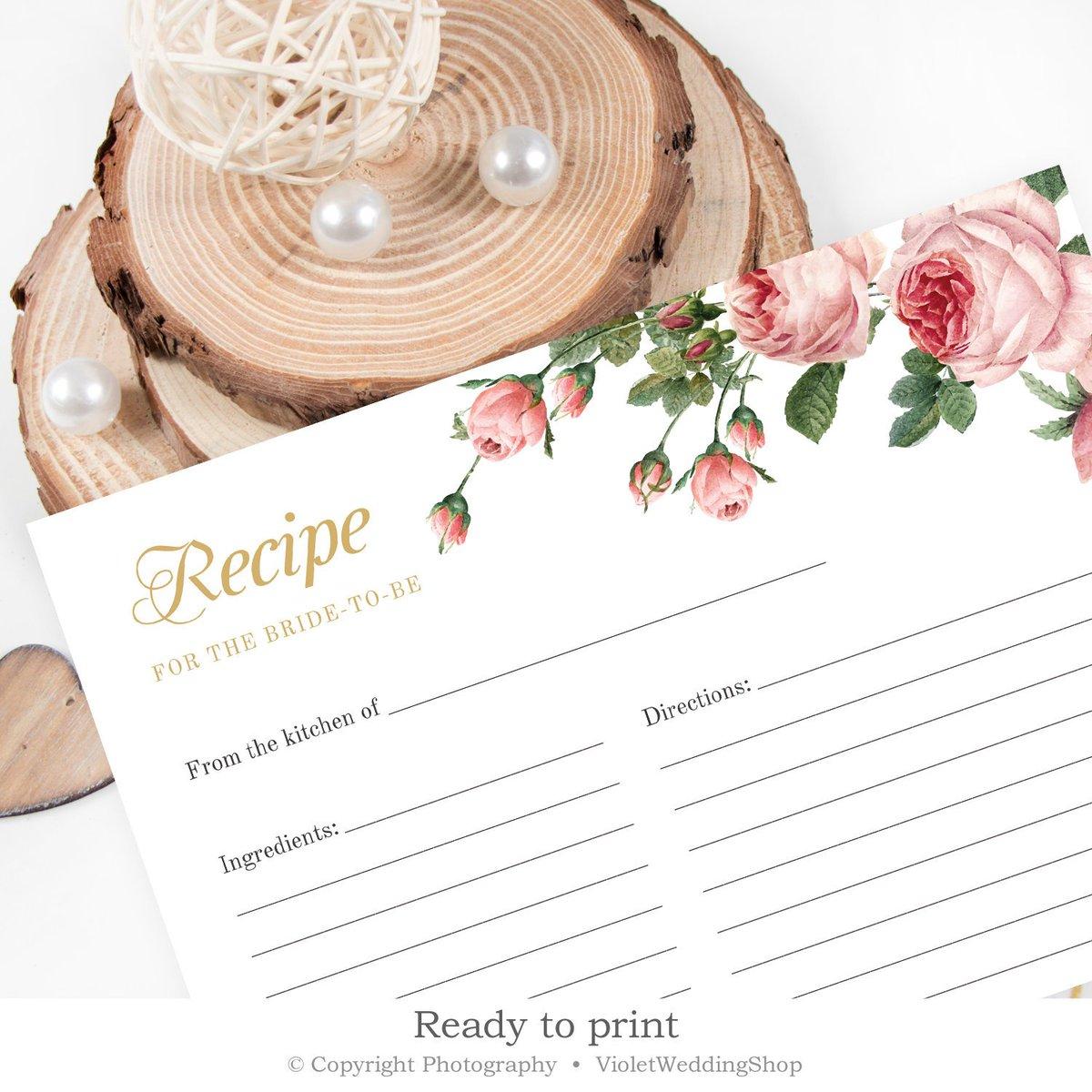 Recipe Card Pink Flowers Vintage Floral,Vintage Pink Bridal Shower Invitations Rustic Flowers