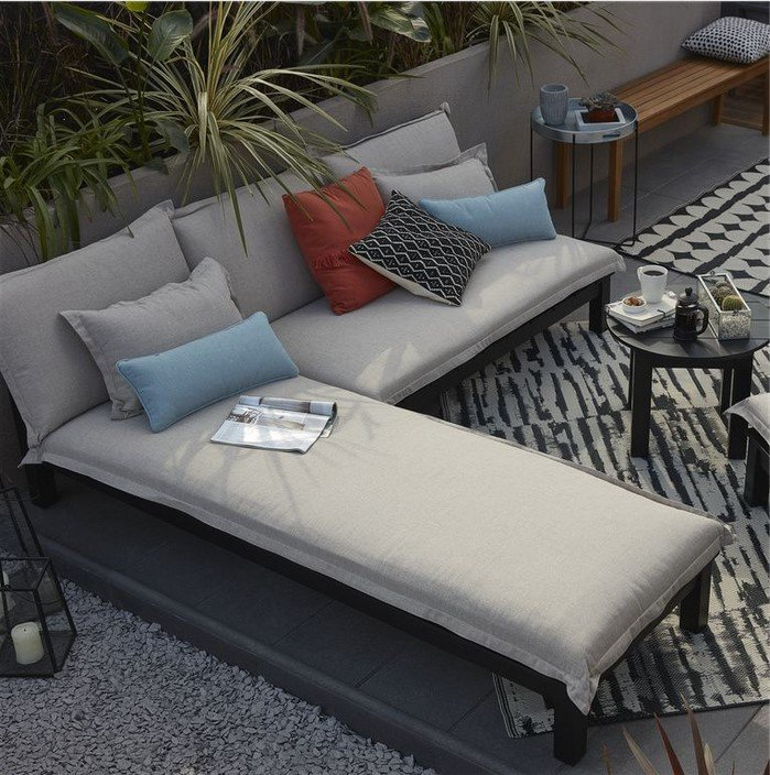 Canapé de jardin en bois Blooma Pontine noir pas cher prix ...