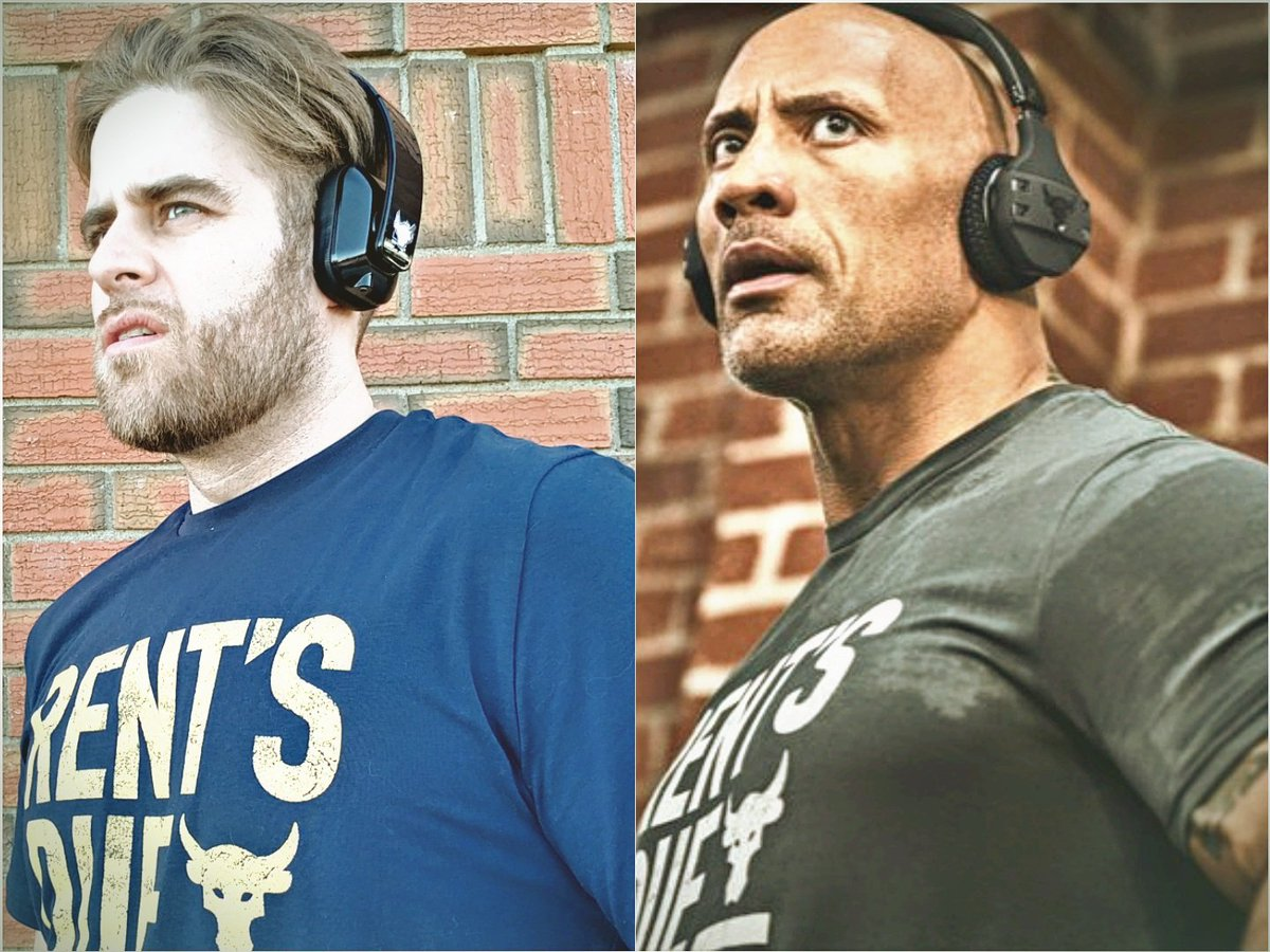@TheRock picked up my Rent's Due shirt and noticed we're basically identical. #ProjectRock @UnderArmour