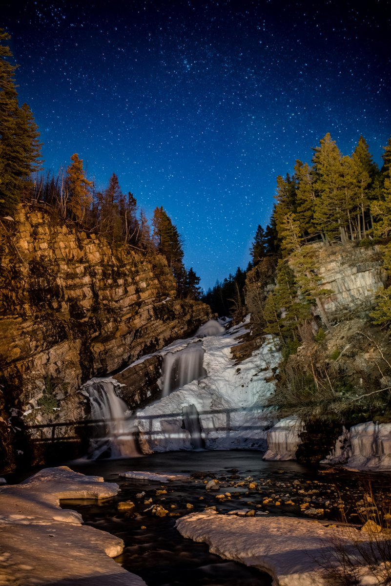 I LOVE going to Waterton in the winter...ok so technically now it's spring....but it's so beautiful and peaceful and there's still lots to do and see! #waterfall #frozen #ASTRO #NightPhotography #sky #beautiful #Alberta #Canada #ExploreCanada #explorealberta #experiencewaterton