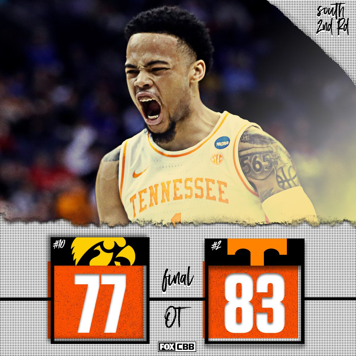 Instant classic.  Tennessee survives Iowa's 25-point comeback to secure a berth in the Sweet 16.