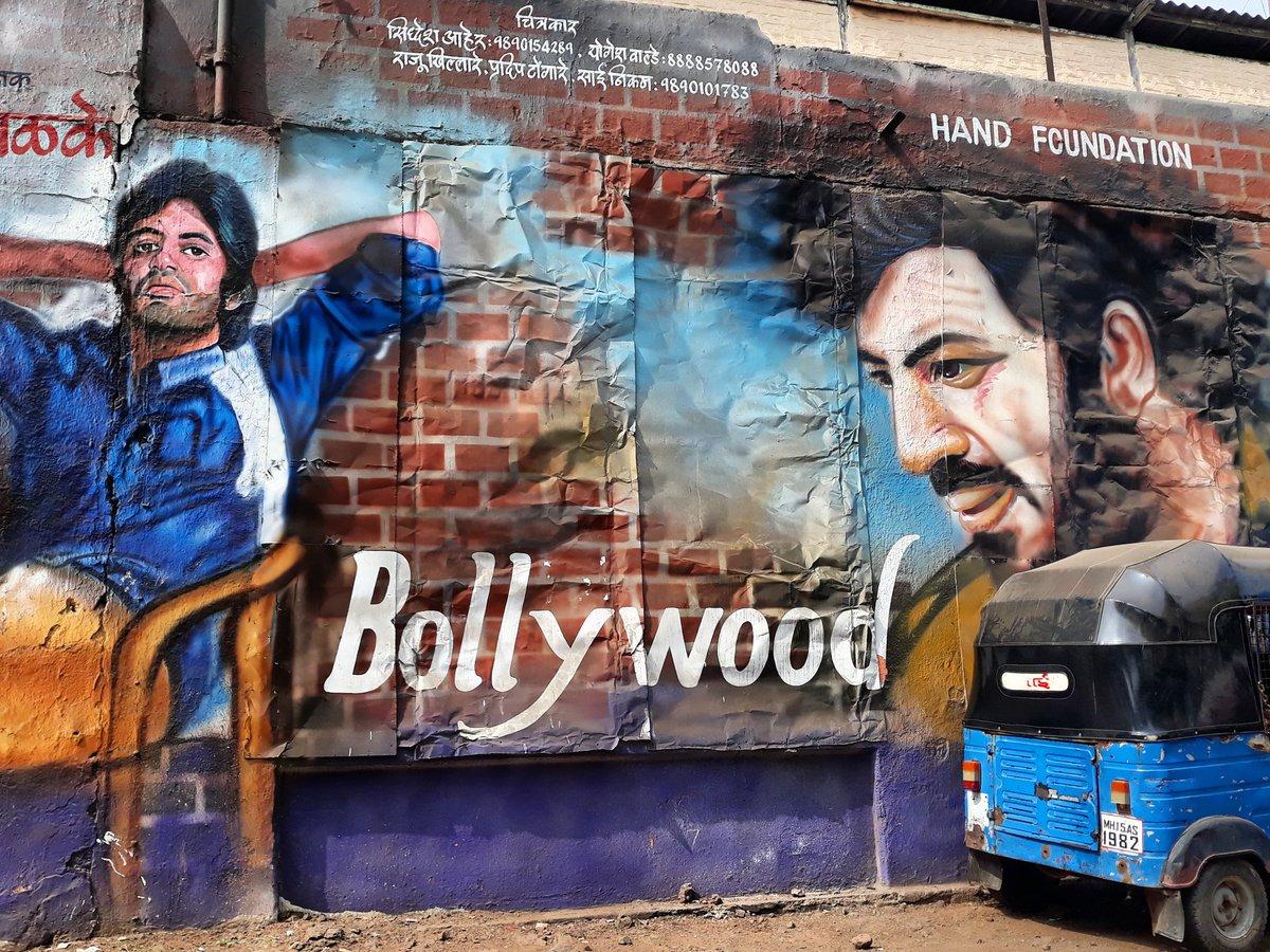 Bollywood street art on a wall in northern Karnataka, India. Photo © Simon Raven #streetart #graffiti #travel #bollywood #movies #Cinema