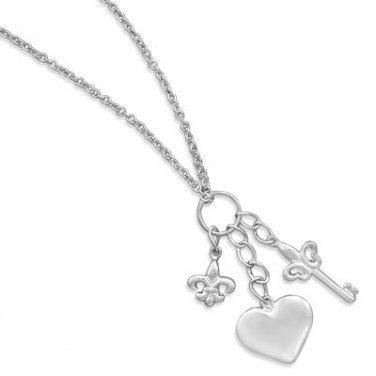 Excited to share the latest addition to my #etsy shop: Sterling Silver Chain Necklace With Multi Charm Drop ~ Chain Necklace with Heart Charm, Key Charm and Fleur-De-Lis Charm ~ Gift For Her https://etsy.me/2FwPg8o #jewelry #necklace #silver #no #women #springring #cha