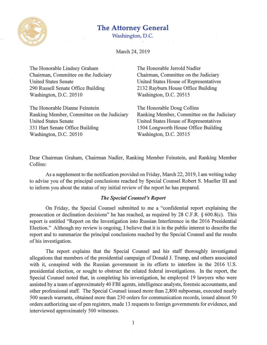 Read it for yourself: HERE is the 4-page letter from AG Barr to Congress with a summer of the Mueller report: