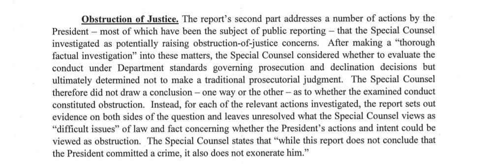 "KEY SENTENCE 2: Regarding obstruction of justice by TRUMP, MUELLER wrote ""while this report does not conclude that the President committed a crime, it also does not exonerate him.""   Instead, the report ""sets out evidence on both sides of the question"" Barr writes to Congress."