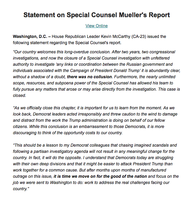 After two years, two congressional investigations, and now the closure of a Special Counsel investigation, it is abundantly clear, without a shadow of a doubt, there was no collusion. This case is closed.  My full statement: