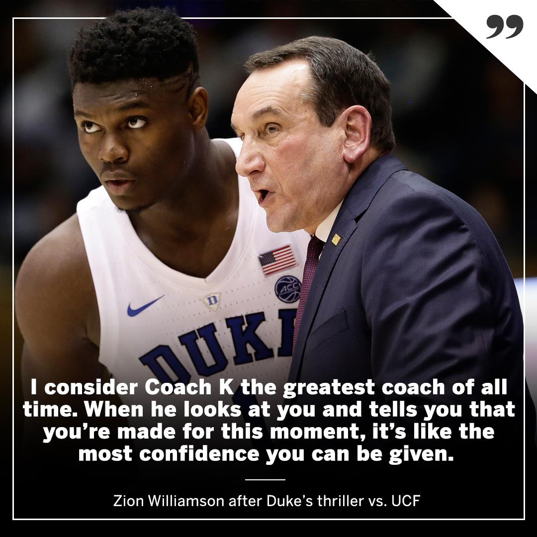 Zion considers Coach K the 🐐
