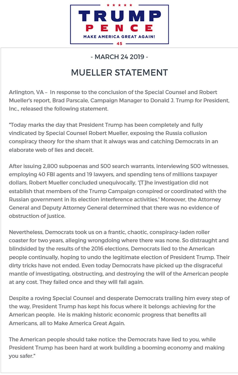 Our statement from @parscale on the complete exoneration of President @realDonaldTrump: