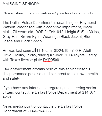 **MISSING SENIOR** Please RT  The Dallas Police Department is searching for Raymond Watson, diagnosed with a cognitive impairment, Black, Male, 76 years old, DOB 04/04/1942 #SilverAlert