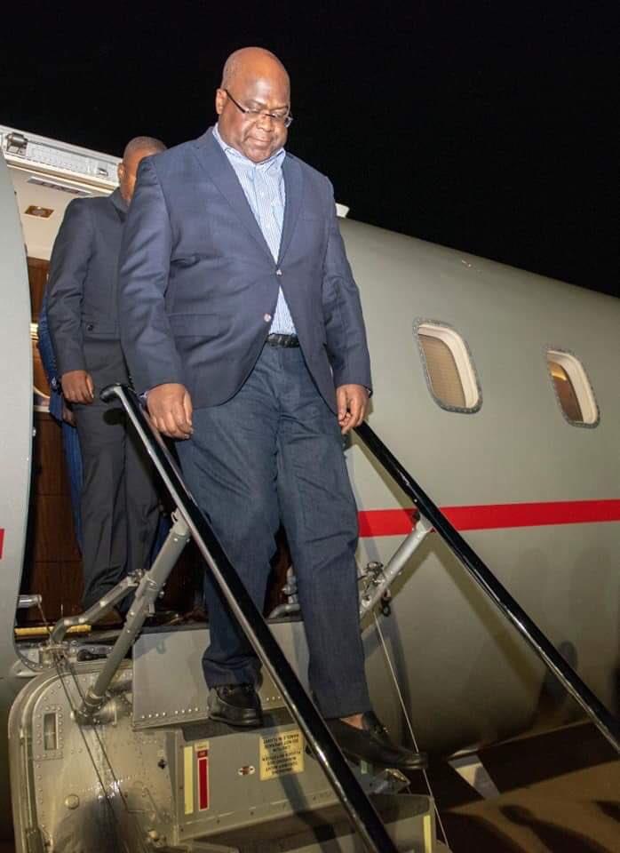 #RDC - #Rwanda : l'arrivée du Président Felix TSHISEKEDI à Kigali pour participer au Sommet CEO AFRICA qui se tiendra du 25 au 26 Mars 2019. Il a eu un tête à tête avec le Président Rwandais, Paul Kagame