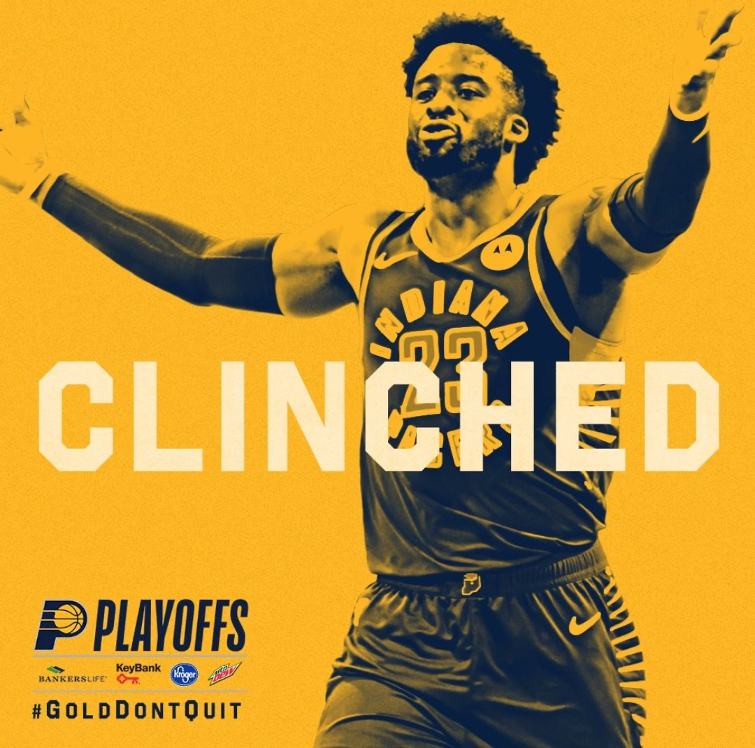 #NBA: !#Pacers a #NBAPlayoffs!. Cuarto clasificado!. Este: ✅ #FearTheDeer ✅ #WeTheNorth ✅ #HereTheyCome ✅ #Pacers ✅ ✅ ✅ ✅