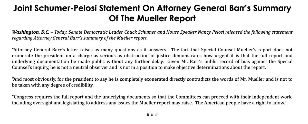 """Pelosi and Schumer with a joint statement: """"Barr's letter raises as many questions as it answers"""""""