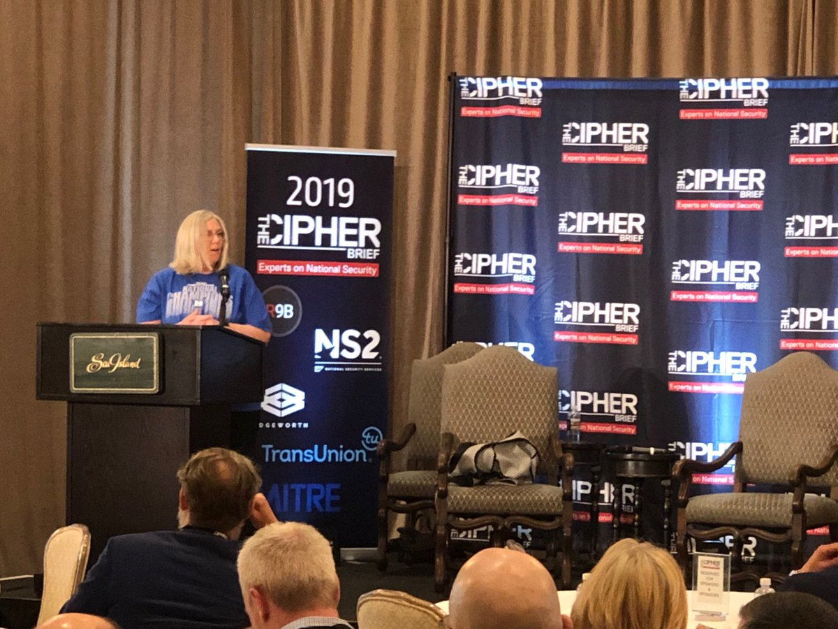 PDDNI ⁦@ODNIgov⁩ Sue Gordon evening keynote speaker at the 2019 #cipherbriefthreatcon.  For those concerned with understanding global threats and getting down to how Public and Private find solutions, there's no better place than Sea Island, tonight.