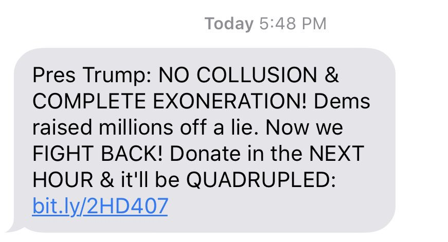 Trump campaign texts his supporters