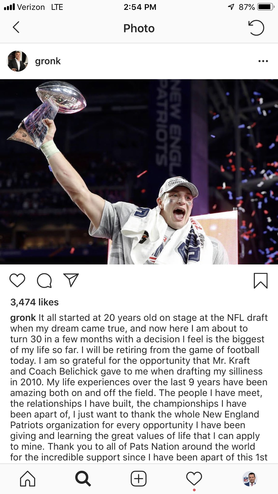 #Patriots TE Rob Gronkowski announces his retirement. One of the best to ever do it. https://t.co/ml9Zv2PH5Z