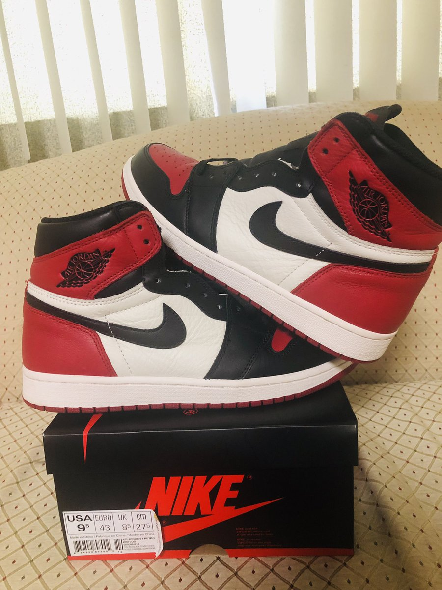 """e26d34685d119 FOR SALE  Pre-Owned Jordan 1 """"Bred Toes"""" Size 9.5 Retweets are much  appreciated!pic.twitter.com cyn94uGkbN"""