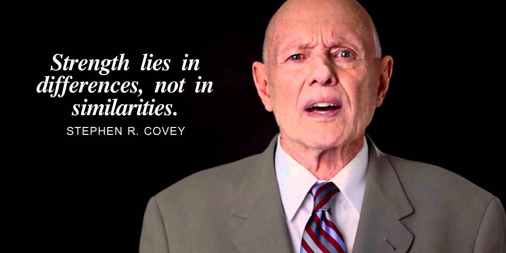 Strength lies in differences, not in similarities. - Stephen R. Covey #quote