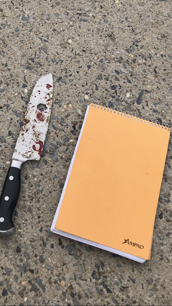 The subject then set his vehicle on fire.  111 precinct officers exited the station house and approached him. He then brandished the knife seen below and charged at the officers.   The officers discharged their firearms several times striking the subject.
