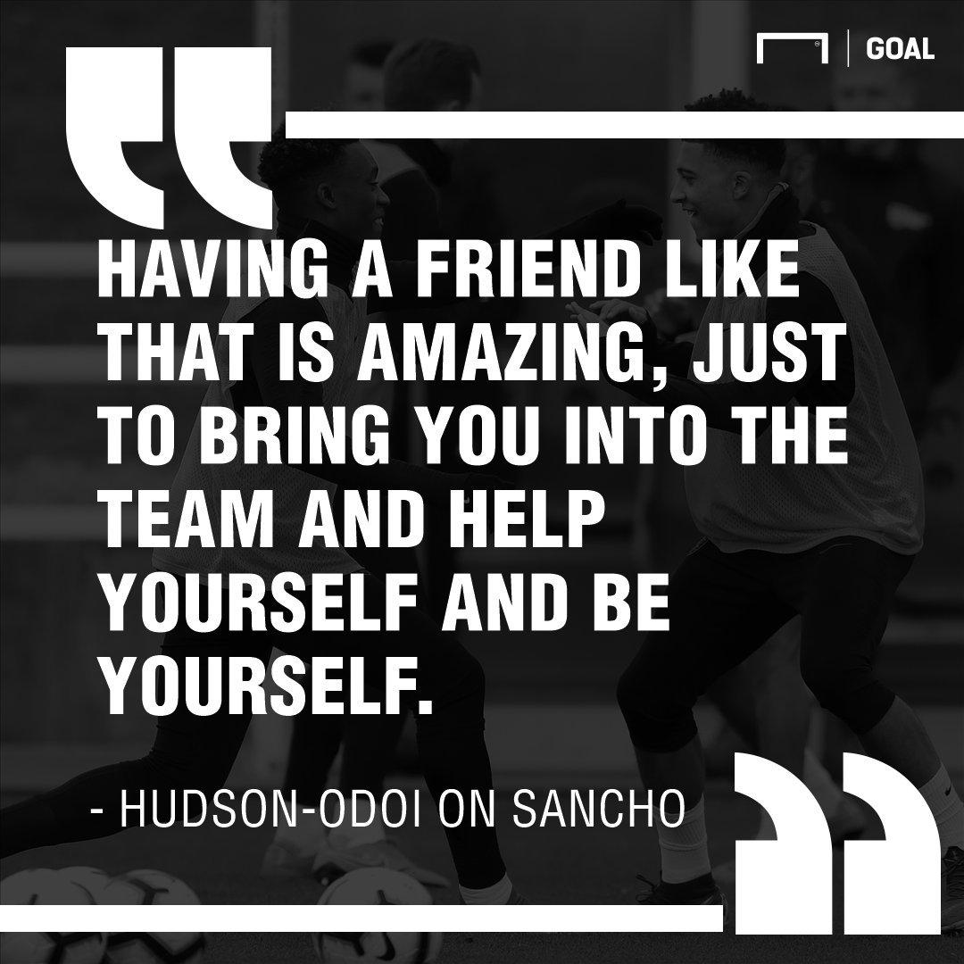 Hudson-Odoi has loved being around Jadon Sancho https://www.goal.com/en-gb/news/hudson-odoi-lauds-influence-of-close-friend-sancho-on-his/zarg9a4lmk9y18m5cvb7d3wwp…