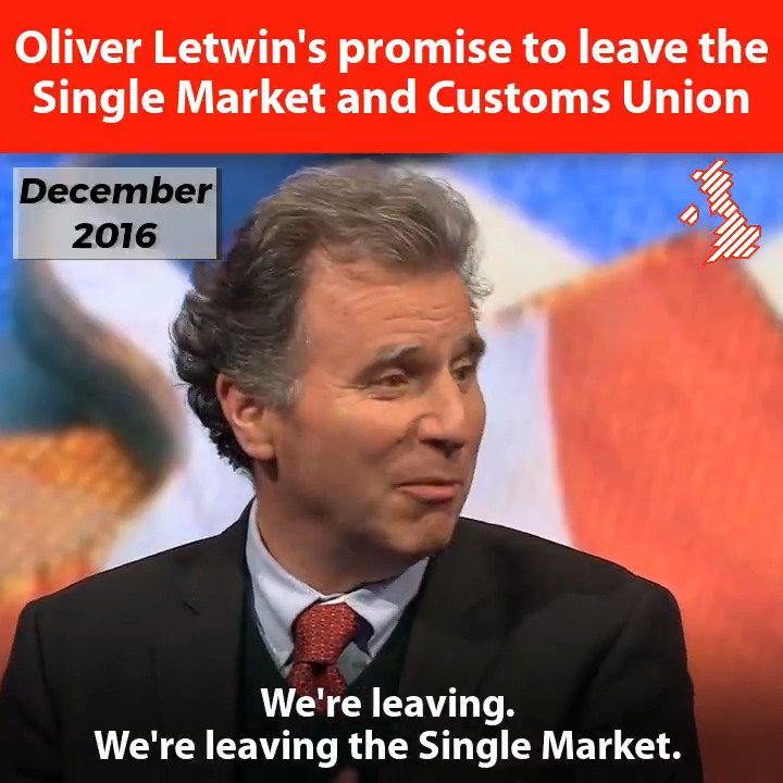 Oliver Letwin promised that Britain would leave the Single Market and the Customs Union.