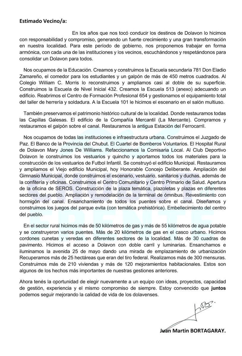 Carta a los Vecinos y Vecinas de #Dolavon #VolverACreerVolverACrecer #DolavonGanaSiEstamosTodos https://t.co/jp21HwwXSc