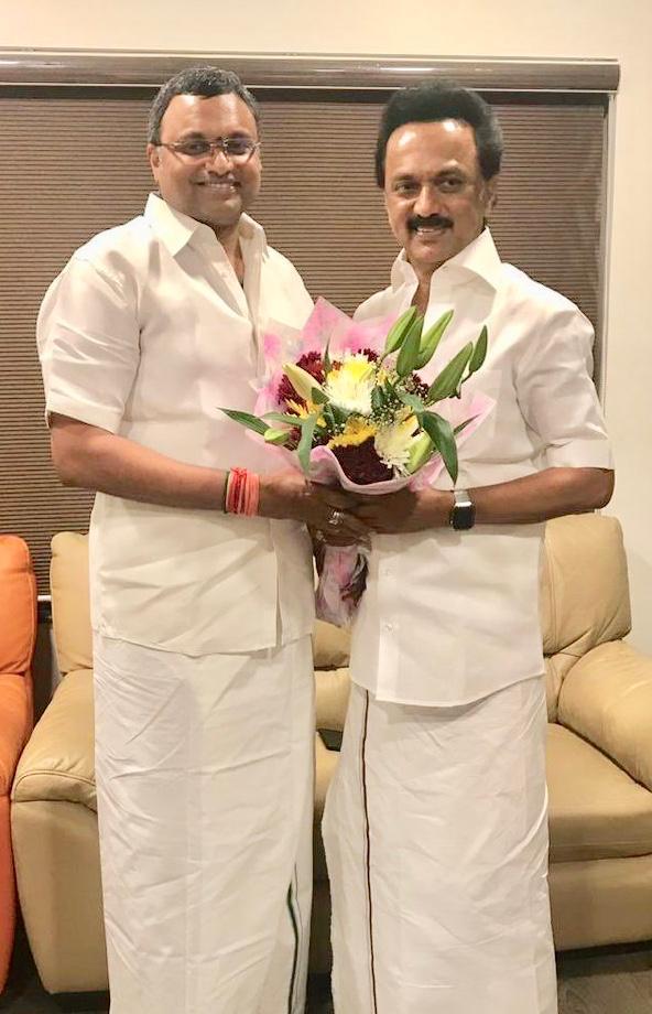 """ANI on Twitter: """"Tamil Nadu: Congress' Karti Chidambaram met DMK Chief MK  Stalin yesterday in Chennai.… """""""