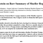 Image for the Tweet beginning: Attorney General Barr's 4-page summary