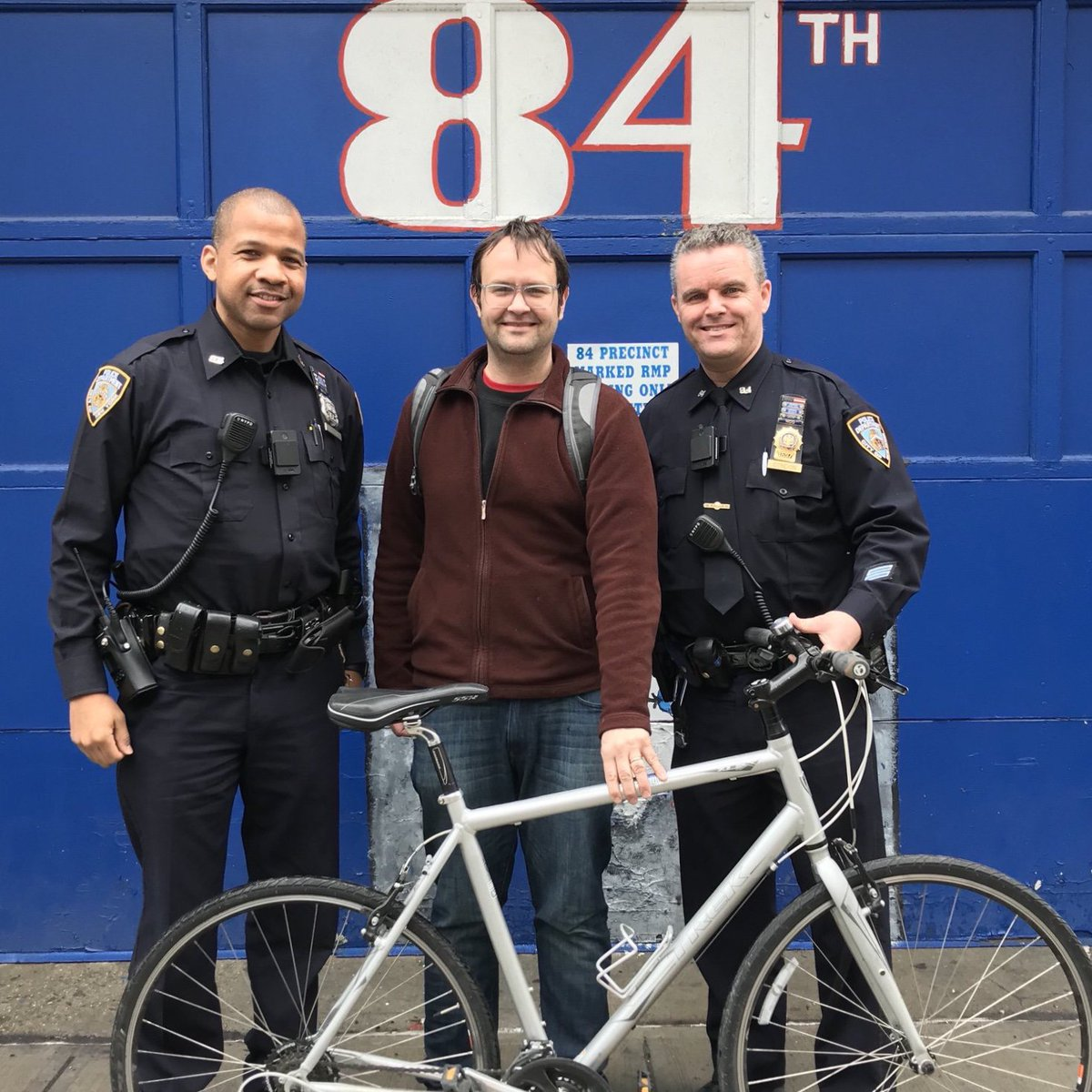 Neighborhood Coordination Officer Hunt and Detective Condon from the @NYPD84Pct apprehended a serial bicycle thief in Brooklyn. After a thorough investigation and help from local bike shops, they were able to locate the owner of this stolen 🚲 and reunite him with his property!