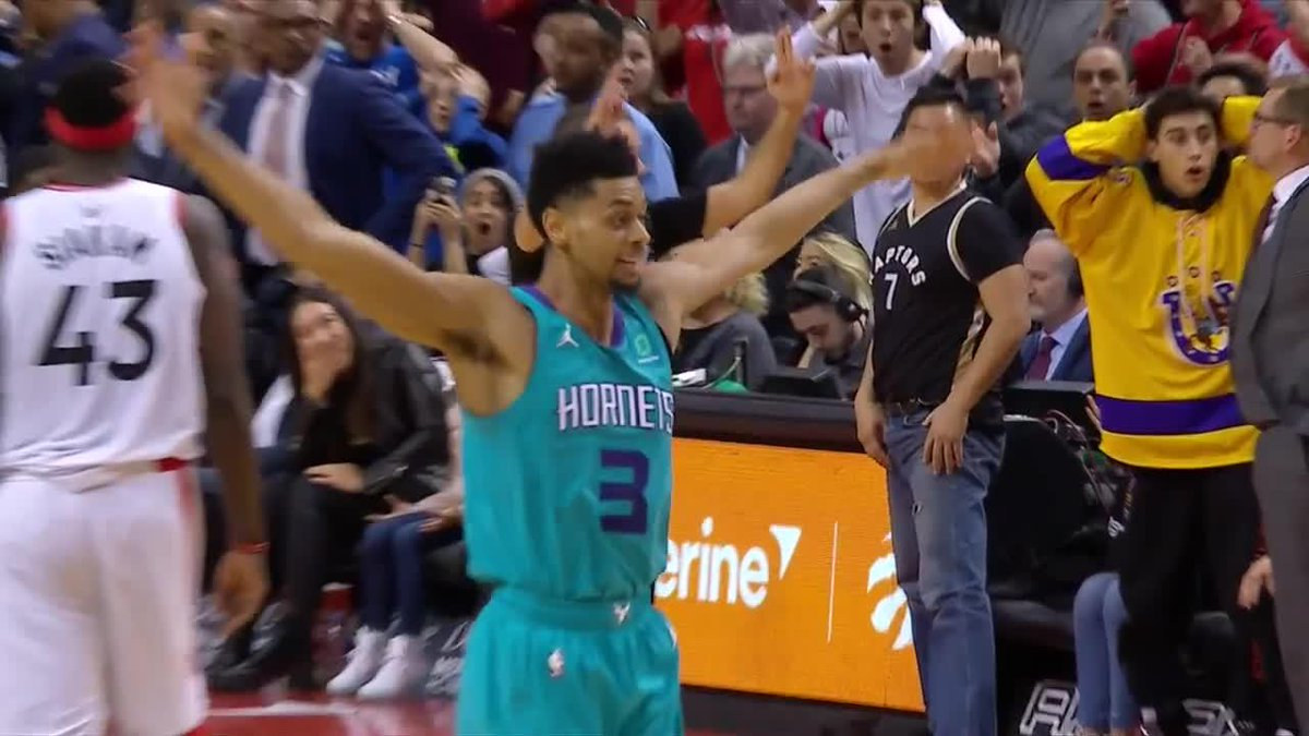WE. HAVE. NO. WORDS. 🤯  JEREMY LAMB WITH THE HALF-COURT BUZZER BEATER TO WIN. THE. GAME!!!!!   #hornets30 @TISSOT